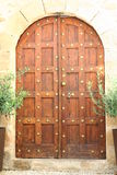 Door in Lindos town in Rhodes island Royalty Free Stock Photo