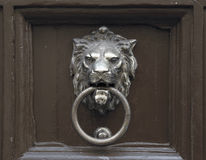 Door with lion door knocker Stock Photos