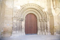 Door of Lleida cathedral Stock Images