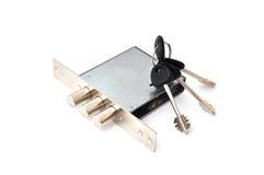 Door lock. Metal door lock on a white background Stock Photo