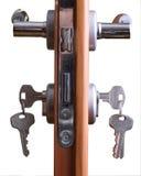 Door lock. A hotel room door lock and key Stock Image