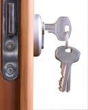 Door lock. A hotel room door lock and key Royalty Free Stock Photo