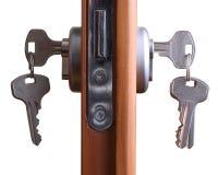 Door lock. A hotel room door lock and key Royalty Free Stock Photography