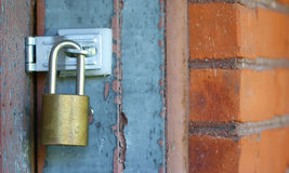 door lock with brick wall  Royalty Free Stock Photography