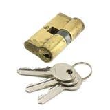 Door lock with a bunch of keys Stock Image