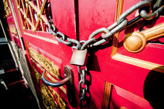 Door lock with chains. Royalty Free Stock Photo