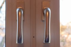 Door lock with handle and key royalty free stock image