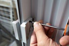 Door lock installation. Royalty Free Stock Photo