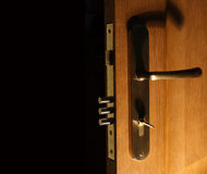 Door with lock and key Royalty Free Stock Photo