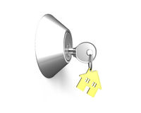 Door lock with Key, house shape key-ring on it Royalty Free Stock Photography