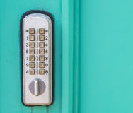 Door lock with keypad. Outside laboratory room royalty free stock images