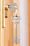 Door lock with keys macro shot Stock Images