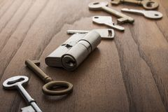 Door lock with keys. On wooden surface Stock Images