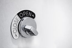 Door lock system with Open and Close Symbol Royalty Free Stock Photography