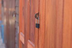 The door is lock. Lock the door at thailand Royalty Free Stock Images