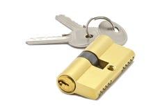 Door lock with two keys. Door lock with keys on white background Stock Photo