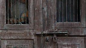 Door lock. Wood door   and steel lock Stock Photos