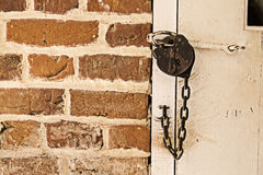 Door Locked with Old Lock Royalty Free Stock Photo
