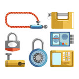 Door locks different types, padlock latches or electonic keys vector flat icons. Door locks different types of electronic security code and fingerprint access Royalty Free Stock Photography