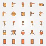 Door locks, keys icons Stock Photography
