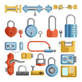 Door locks and padlock latches keys vector retro and modern flat icons Stock Photo