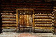Door in log wall Stock Photos
