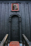 Door of the Lom Stave Church. The Lom Stave Church is a triple nave stave church and amongst the oldest of Norway Stock Image