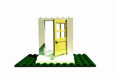 Door made with plastic bricks Stock Images