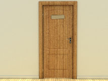 The door made of wood with an iron pen. And with a tablet of gold and parquet flooring №1 Royalty Free Stock Photo