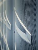 Door mainframe in data center blur closeup Stock Photo