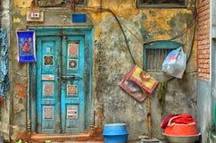 Door with mandalas. Real Kathmandu Royalty Free Stock Photography