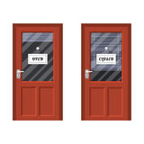 Door marked open and closed Stock Image
