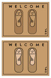 Door mat or rug design in web style with writing Slide to unlock and Welcome. Isolated illustration. Vector Royalty Free Stock Photography