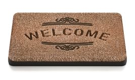 Door mat with welcome text isolated on white background. 3D illustration.  vector illustration