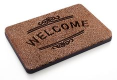 Door mat with welcome text isolated on white background. 3D illustration.  royalty free illustration