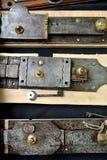 Locks. The door metal ancient locks Royalty Free Stock Photography