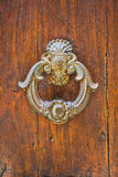 Door with metal knocker Royalty Free Stock Images