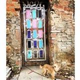 Door on Montjuic, Barcelona Spain Stock Image