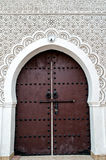 Door of a Moroccan Mosque. With floreal and geometric decorations Royalty Free Stock Photos