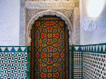 Door & Mosaics - Seville - Spain. Beautiful colourful door surrounded by mosaics and marble, in Andalucia, Seville, Spain stock image