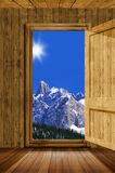 Door and mountain royalty free stock images