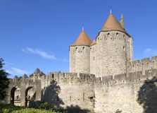 Door of Narbona. Towers and drawbridge of the Door of Narbonne of the Cite of Carcassonne Royalty Free Stock Images