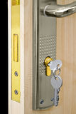 Door with new lock Royalty Free Stock Images