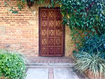 Door number two. Nice entrance with plants and wooden door Stock Photos