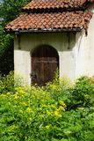 Door in an old abandoned house with a tiled roof overgrown green Stock Images