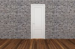 Door on old brick wall, 3d Stock Photo