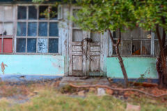 The door of the old building is over 50 years old tilt-shift Stock Images
