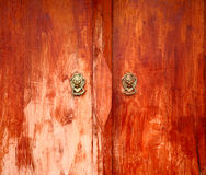 Door old style dragons head knocker Royalty Free Stock Photography