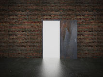 Door open on brick wall, 3d Royalty Free Stock Image