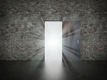 Door open on brick wall, 3d Royalty Free Stock Photo